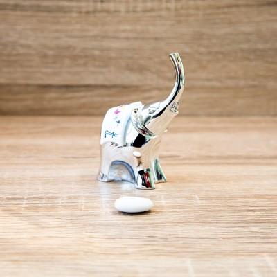 Elefante Piccolo Argentato con Farafalle Lully Argenti