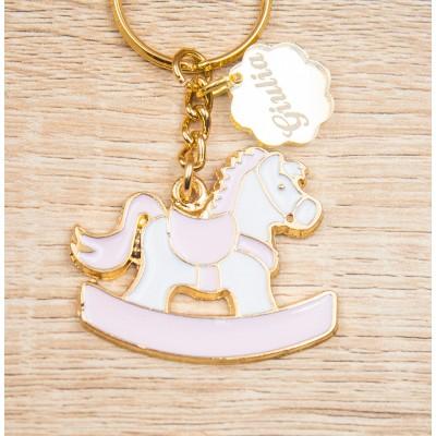 Portachiavi Cavallo a Dondolo Rosa Oro 24Kt Personalizzato Orchidea