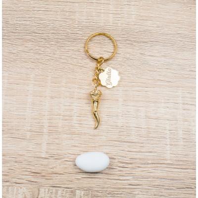 Portachiavi Corno Portafortuna Oro 24Kt Personalizzato Orchidea