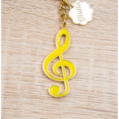 Portachiavi Nota Musicale Oro 24Kt Personalizzato Orchidea