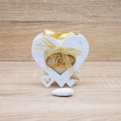 Portaconfetti con Sacchetto Cuore Nozze d'Oro Orchidea