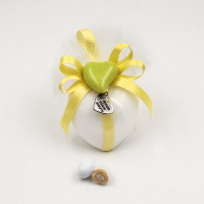 Saponetta Bianca con Magnete Cuore Orchidea