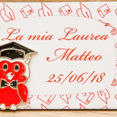 Magnete Personalizzato Laurea Gufetto Orchidea